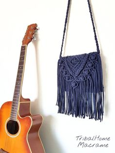 MACRAME BAG, crochet purse, navy dark blue jean, more COLOURS,fringes/Handbag/boho bohemian hippie chic/perfect gift for women mother's day – Purses And Handbags Boho Hippie Chic, Hippie Bohemian, Bag Crochet, Crochet Purses, Fringe Handbags, Purses And Handbags, Boho Crochet Patterns, Crochet Ideas, Gifts For Women