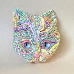 Pastel Cat Sculpture by JanePriserArts, via Flickr