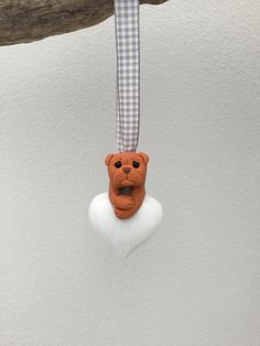 Dogue de Bordeaux on Small Glass heart, little DDB Dog on heart Unique Handmade Ornament unusual by MomapawsHomecraft on Etsy