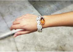 corn inspired hand made silver + amber bracelet / Brazalete de plata + ámbar inpirado en el maíz hecho a mano