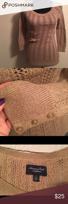 American Eagle Carmel Sweater Beautiful sweater, brand new without tags. Has pretty button detail along sleeve cuffs. Caramel color and 3/4 sleeves. In perfect condition. Offers and questions welcome! American Eagle Outfitters Sweaters Crew & Scoop Necks