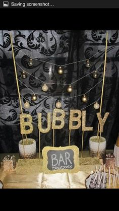 Champagne Bday Party! Gold theme! All DIY,  idea from Hostess with the Mostess…