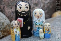 A set of five nesting dolls made of wood and handpainted in St Elisabeth Convent is a great gift for any holiday. Painted Cups, Hand Painted, Paint Icon, Metal Workshop, Byzantine Icons, People In Need, Good Cause, Wooden Dolls, Three Kids