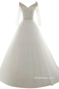 2015 Women V-neck Bridal Gowns A-line Wedding Dresses with Sleeves -Wedding Dresses