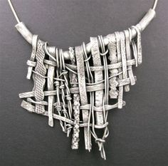 Necklace | Hadar Jacobson (Lovely)- the weaving idea could be fun as vessel in clay... #SilverJewelry