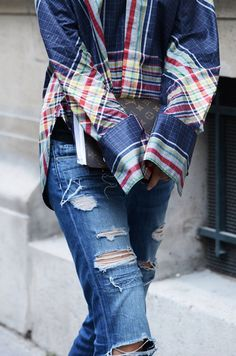 Plaid Shirt + Ripped Jeans + Louis Vuitton