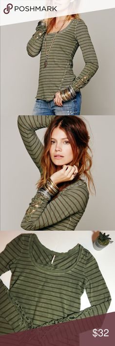 • FREE PEOPLE • striped Henley w/ crochet detail Gently worn Free People green and brown striped henley with crochet detail on the sleeves. Size XS. Normal wear. No stains, rips or holes. Remember to bundle & save 15%! 💕 Open to reasonable offers! Free People Tops Tees - Long Sleeve