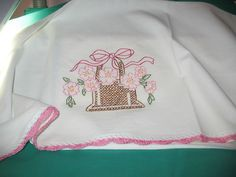 BASKET OF PINK FLOWERS-New hand embroidered 30 X 30 flour sack kitchen  towel #Handmade