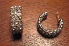 Vintage Rhinestone Crystal Wide Hoop pierced by vintagecarose