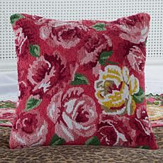 Clever Carriage Home St. Tropez Floral Hooked Pillow