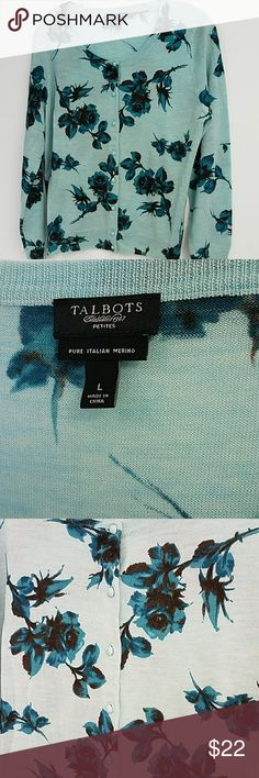 Talbots blue floral cardigan sweater Great condition 100% merino wool Talbots Sweaters Cardigans