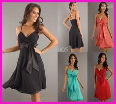 Wholesale Sexy Turquoise V Neck Short Chiffon Bridesmaid Dress Dresses Straps Bow B1957, Free shipping, $56.0-78.4/Piece | DHgate