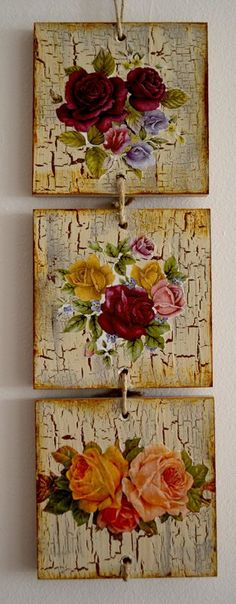 paint and crackle decoupage add flowers and drill holes on both ends and string squares together. drill holes first! : paint and crackle decoupage add flowers and drill holes on both ends and string squares together. drill holes first! Decoupage Vintage, Decoupage Art, Wood Crafts, Diy And Crafts, Arts And Crafts, Diy Y Manualidades, Decoupage Furniture, Painting On Wood, Altered Art