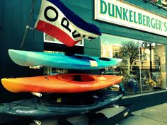 Colorful canoes outside of Dunkeklberger's Sporting Goods!     Photo Credit: Katie Johnstone, Jacob Stroud Corporation