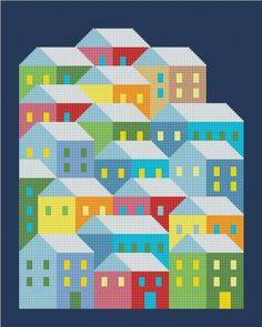 Village Geometric Modern Cross stitch pattern PDF Instant