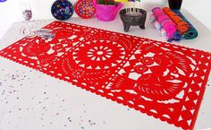 Mexico Table Runner 20x39 Inches, Mexican Fiesta Decorations, Red Table Cloth, Wedding Decor, Birthday Party, Engagement Party, Papel Picado