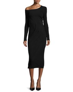 Long-Sleeve+Off-The-Shoulder+Dress,+Black+by+Donna+Karan+at+Neiman+Marcus.