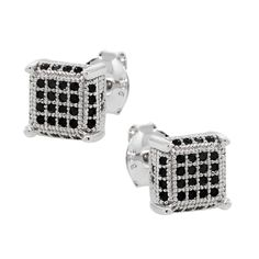 gemstoneking - 2.00 Ct Men's 925 Silver Earrings Black Cubic Zirconia CZ $19.99 #GemStoneKing #MenEarrings #JewelryForHim