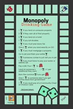How To Play Monopoly Drinking Game Rules & Beer-Opoly Board Game Monopoly Drinking Game, Add these rules to your next Monopoly Game and it will surely create a twist. Monopoly Drinking Game rules like drink, give drinks for getting taxes back, take a drin Monopoly Drinking Game, Drinking Game Rules, Drinking Games For Parties, Monopoly Game, Drinking Board Games, Friends Drinking Game, Adult Drinking Games, Monopoly Party, Outdoor Drinking Games
