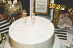 Chic Black, White, Gold 30th Birthday Party | CatchMyParty.com