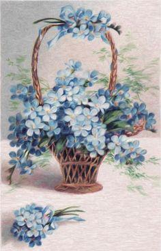 Vintage Blue Flowers Graphic Image Art Fabric Block Doodaba 4 x 6 Vintage Greeting Cards, Vintage Ephemera, Vintage Paper, Vintage Postcards, Vintage Flowers, Vintage Floral, Blue Flowers, Arte Floral, Vintage Pictures