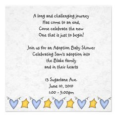adoption shower invitation- but we could print our own and have gray elephants and red birds going across the bottom... Mayb print it on white paper w an aqua border??