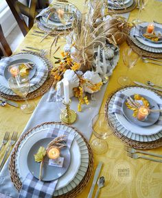 The tablescape I created for Thanksgiving this year was inspired by a recent ad by Pier 1 Imports (yes, again!) which included shades of o. Fall Table Settings, Thanksgiving Table Settings, Thanksgiving Tablescapes, Small Pumpkins, White Pumpkins, Seasonal Decor, Fall Decor, Wheat Centerpieces, Square Glass Vase