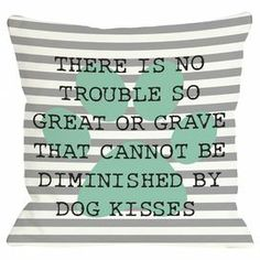 "Striped throw pillow in grey with a typographic design. Made in the USA.  Product: PillowConstruction Material: Polyester cover and polyester down alternative fillColor: Grey, white and aquaFeatures: Insert included Zipper closureMade in the USADouble sided printing Dimensions: 18"" x 18""Cleaning and Care: Removable cover is machine washable"