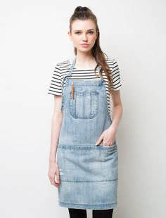 Cargo Crew - Boston Distressed Denim Bib Apron - Online Uniform Shop Australia
