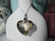 Sterling Silver Amber Gold Crystal Heart by TheDarlingDuck on Etsy, $13.00