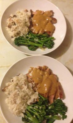 Jamie Oliver's Pork Marsala with Mushroom Rice and Broccoli with Lemon and Parmesan