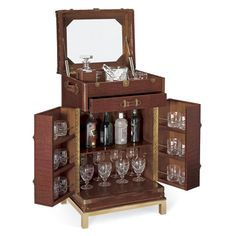 NEW SAFARI BAR - This Pullman style trunk bar features mixing surfaces, barware stowage and includes a mahogany interior with a mirrored back panel.