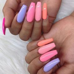 In look for some nail designs and some ideas for your nails? Here is our list of must-try coffin acrylic nails for cool women. Simple Acrylic Nails, Summer Acrylic Nails, Pastel Nails, Best Acrylic Nails, Purple Nails, Acrylic Nail Designs, Pastel Pink, Pastel Colors, Spring Nails