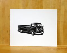 Volkswagen Single Cab Pickup Truck- Linocut
