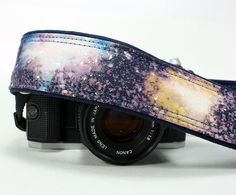 Galaxy No.21 Camera Strap, Hand Painted, dSLR or SLR, Cosmos, Nebula, OOAK. $38.00, via Etsy.