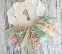 Pink and Mint First Birthday Outfit // Baby Girl by MKsBowtique