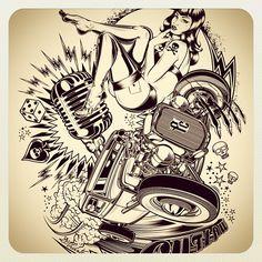 hot rod pin up drawings Car Tattoos, Pin Up Tattoos, Sleeve Tattoos, Pin Up Zeichnungen, Hot Rod Tattoo, V8 Tattoo, Rockabilly Art, Rockabilly Tattoos, Pin Up Drawings