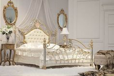 The wrought iron antique bed frame is the anchor of the room, with its dark color and material. Description from pinterest.com. I searched for this on bing.com/images