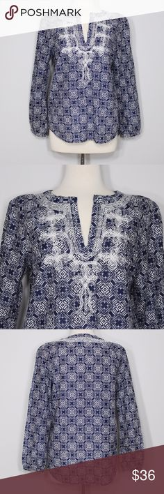 "J. Crew Blue Embroidered Blouse Bust: 20"" (laying flat)  Length: 24"" (shoulder to hem) Sleeves: 23"" (from shoulder)  A super chic top in great condition! Embroidered white design. Great for work or casual wear! No holes or stains. Comes from a smoke free environment.  📦Bundles welcome 👌🏻Offers welcome through offer button  ❌NO trades, please. ⚡️Same/Next day shipping J. Crew Tops"