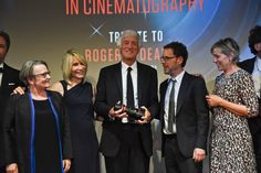 Director Agnieszka Holland, James Deakins, Roger Deakins with the Angenieux Optimo 45-120 specially engraved to his name, Director Ethan Coen, and Frances Mc Dormand