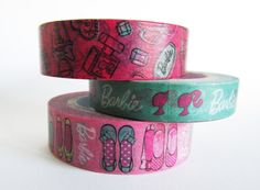 Barbie Set of 3 Pink & Green Washi Tape by iluvgoodthings on Etsy, $15.00