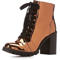 Qupid Metallic Lace-Up Combat Booties ($31) ❤ liked on Polyvore featuring shoes, boots, ankle booties, lace up block heel boots, laced up boots, army boots, combat boots and military boots