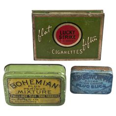 Set Of Three Vintage Tobacco Tins #huntersalley