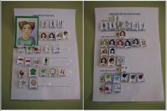 MATERIALES - DESCRIPCIÓN DE PERSONAJES (Fotos)  El objetivo de este material es la descripción de personajes con la ayuda de plantillas para aumentar la producción oral. http://arasaac.org/materiales.php?id_material=1178