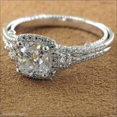 Cushion cut engagement ring with attached wedding band. looooooooove