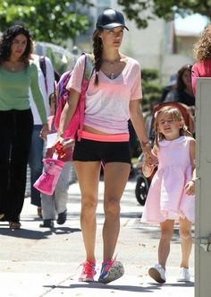 Alessandra Ambrosio stops by the Brentwood Country Mart with a friend before running some errands with her daughter Anja on April 28, 2014 in Brentwood, California