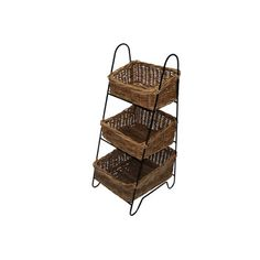 Wicker Valley Vegetable Rack with Three Rattan Baskets