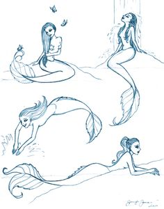 Mermaid Sketches by HappyRaincloud.deviantart.com on @DeviantArt