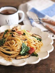 Home Recipes, Asian Recipes, Cooking Recipes, Ethnic Recipes, Cooking Ideas, Japanese House, Japanese Food, Spinach Pasta, Spaghetti