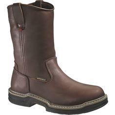WOLVERINE W04826 Men's Buccaneer Steel-Toe EH Waterproof Wellington Work Boot - Dark Brown, Work Series
